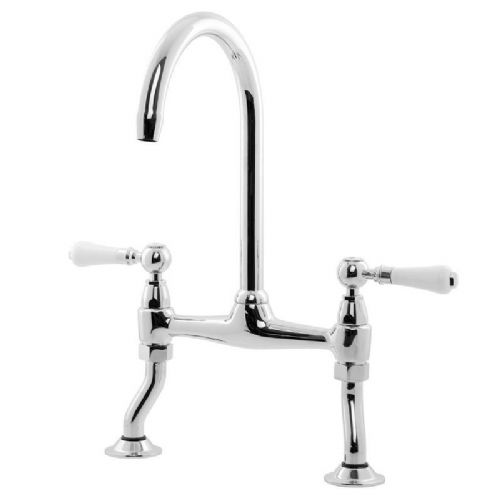 Caple Knightsbridge Bridge Lever Chrome Kitchen Tap